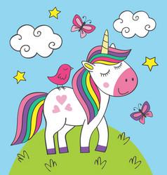 cute little unicorn with bird on meadow vector image