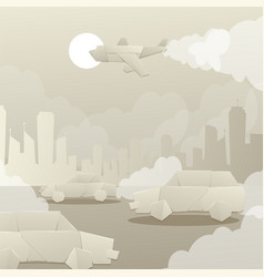 Cutting paper polluting city environment exhaust vector