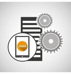database setting smartphone gear engine vector image