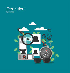 Detective services flat style design vector
