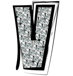 Diamond Font letter V vector image