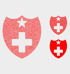 dotted medical shield icons vector image