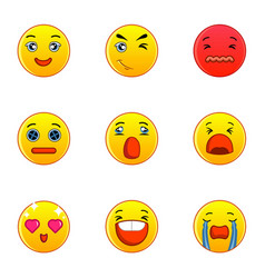 Emoticons or smileys icons set flat style vector