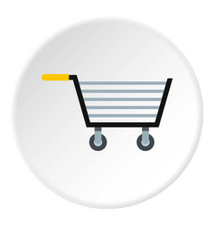 Empty steel trolley icon circle vector