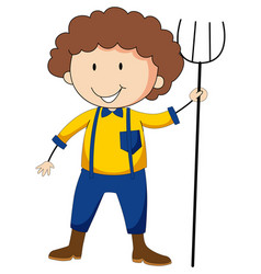 Farmer boy cartoon character vector