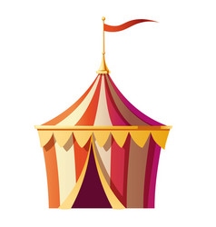 Festival tent with red white stripes on funfair vector