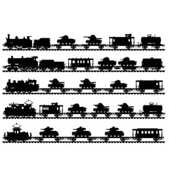 Five vintage military trains vector