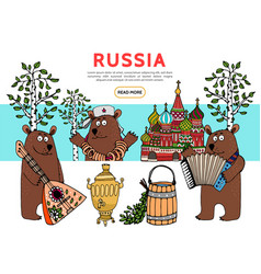 Flat travel in russia template vector