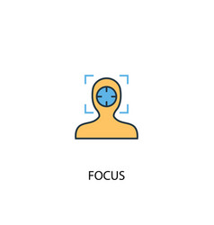 Focus concept 2 colored icon simple blue element vector