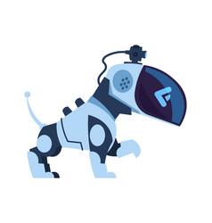 Futuristic robot dog cartoon electronic robotic vector
