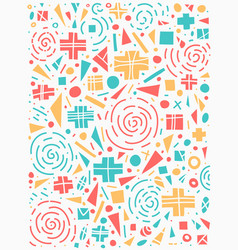 geometric pattern 80s style colorful design vector image