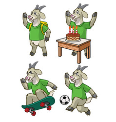 Goat cartoon set vector