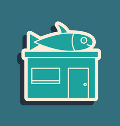 Green seafood store icon isolated on green vector