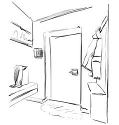 hand drawn wardrobe sketch with clothes hall vector image