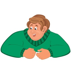 Happy cartoon man torso in green sweater elbows on vector