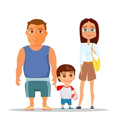Happy family dad mom and son vector