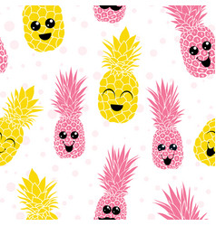 happy smiling pineapples characters vector image