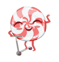 Hard candy on scooter cute anime humanized cartoon vector