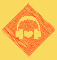 headphones with heart red scribble icon vector image