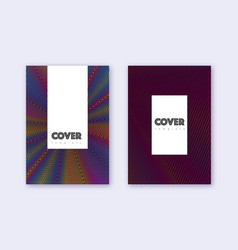 Hipster cover design template set rainbow abstract vector