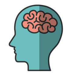 human profile with brain icon vector image
