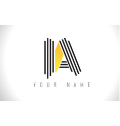ia black lines letter logo creative line letters vector image