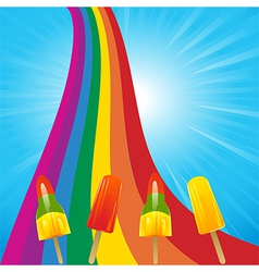 Ice lollies on a rainbow and blue sky vector