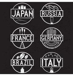 International food marks grunge labels set vector