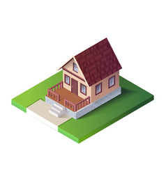 isometric country house on green ground the vector image