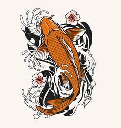 Koi fish tattoo design vector