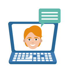 laptop computer talking student home education vector image