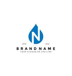 Letter n water drop logo design vector