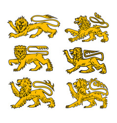 Lion heraldic icon set for tattoo heraldry design vector