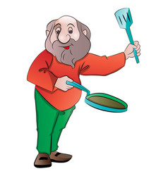 man with a frying pan and laddle vector image