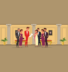 Men and women at theater flat vector