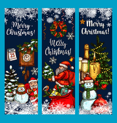 Merry christmas wish greeting sketch banner vector