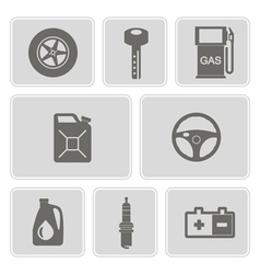 monochrome set with cars icons vector image