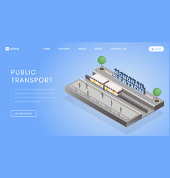 Monorail station landing page template vector