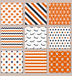 nine different seamless patterns for halloween vector image
