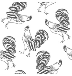 pattern rooster painted by hand vector image