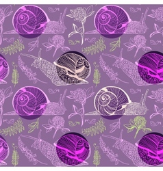 Pattern with clover peas and snails vector image