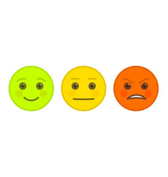 Positive neutral and angry emoticons vector