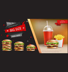 realistic fast food advertizing template vector image