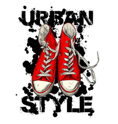 red vintage sneakers with black ink blots vector image