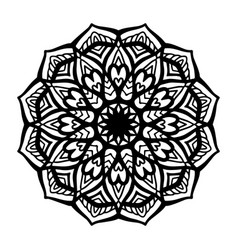 round black mandala on white isolated background vector image