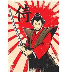 Samurai vintage poster vector