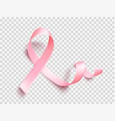 Satin pink ribbon realistic medical symbol vector