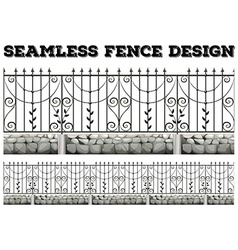 Seamless fence design with metal fence vector