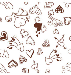 seamless pattern background with boho hearts vector image