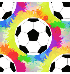 Seamless pattern with white soccer balls with vector